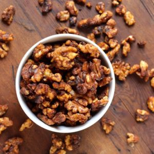 bourbon soaked candied walnuts
